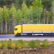 Yellow trailer goes on highway — Stock Photo