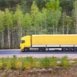 Stock Photo: Yellow trailer goes on highway