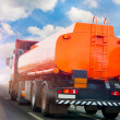 Royalty-Free Stock Photo: Gas-tank truck goes on highway