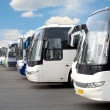 Tourist buses on parking - Stock Photo