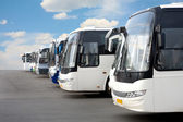 Tourist buses on parking — Stock Photo