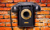 Old black rotational phone — Stock Photo