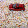 Map of Europe and car — Stockfoto
