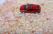 Map of Europe and car — Stock Photo