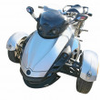 Blue three wheel motorcycle — Stock Photo