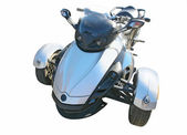 Blauwe drie wielen motorfiets — Stockfoto