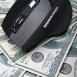 Computer mouse on hundred dollar notes — Stock Photo