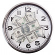 Dollar banknotes on the dial of hours — Stock Photo