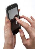 女性の手で携帯電話 — ストック写真