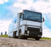 Truck goes on the highway — Zdjęcie stockowe