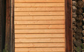 Wall from pine boards — Stock Photo