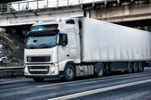 Truck moves on the highway — Stockfoto