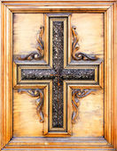 Wooden figured Catholic cross — Stok fotoğraf