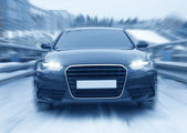 Car on many-tier parking in the winter — Stock Photo