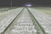 Railroad shined with lamp at night — Stockfoto
