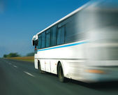 Bus goes on the highway  — Stock Photo