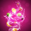 Stock Photo: Fruit In Water Splash Red Background