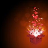 Boîte de cadeau avec coeurs — Photo
