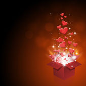Scatola regalo con cuori — Foto Stock