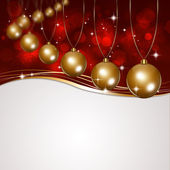 Christmas Golden Balls on Red Background — Stock Photo