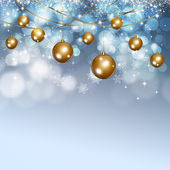 Winter Snow Xmas Balls Background — Stock Photo