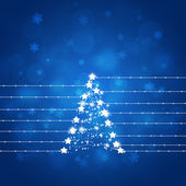 Blue Xmas Abstract Star Tree — Stock Photo