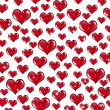 Many Red Valentine Hearts on White Background — Stock Photo