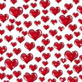 Many Red Valentine Hearts on White Background — Stock Photo