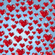 Many Red Valentine Hearts — Stock Photo