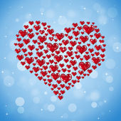 Big Shape Of Red Hearts — Stock Photo