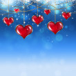 Valentine Red Hearts on Soft Blue Background — Stock Photo #37319509