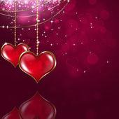 Cuori di San Valentino su sfondo rosa — Foto Stock