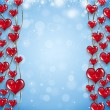Red Hearts on Golden Chain — Stock Photo
