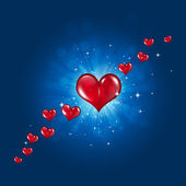 Red Hearts on Blue Background — Stock Photo