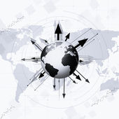 World Globe with Arrows Around — Foto Stock