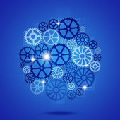 Gears in Process Blue Business Background — Stock Photo