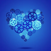 Heart Shape Gears Blue Business Background — Stok fotoğraf