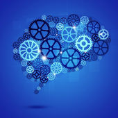 Human Brain Shape Gears Blue Business Background — Stok fotoğraf
