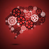 Human Brain Shape Gears Red Business Background — Stock Photo