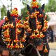 Horses decked in the horse fair in Sevilla, Spain - Stock Photo