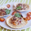 Raw queen scallops (lat. Aequipecten opercularis).Scallop with Vegetables — Stock Photo #32584773
