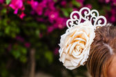 Flamenco comb fan and roses typical from Spain — Stock Photo