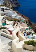 On the terraces of Santorini — Stock Photo