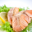 Salmon. fillet with salad and lemon — Stock Photo