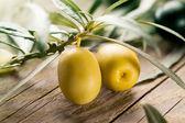 Grüne oliven mit blättern — Stockfoto