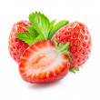 Strawberry. Composition with leaves isolated on white — Stock Photo