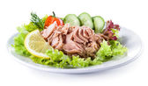 Canned tuna with vegetable salad — Stock Photo