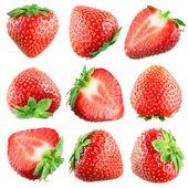 Aardbei. vruchten op witte. collectie — Stockfoto