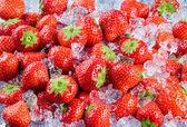 Fresh ripe strawberry with ice. Fruit Background — Stock Photo
