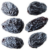 Black raisins. Collection isolated on white — Stock Photo